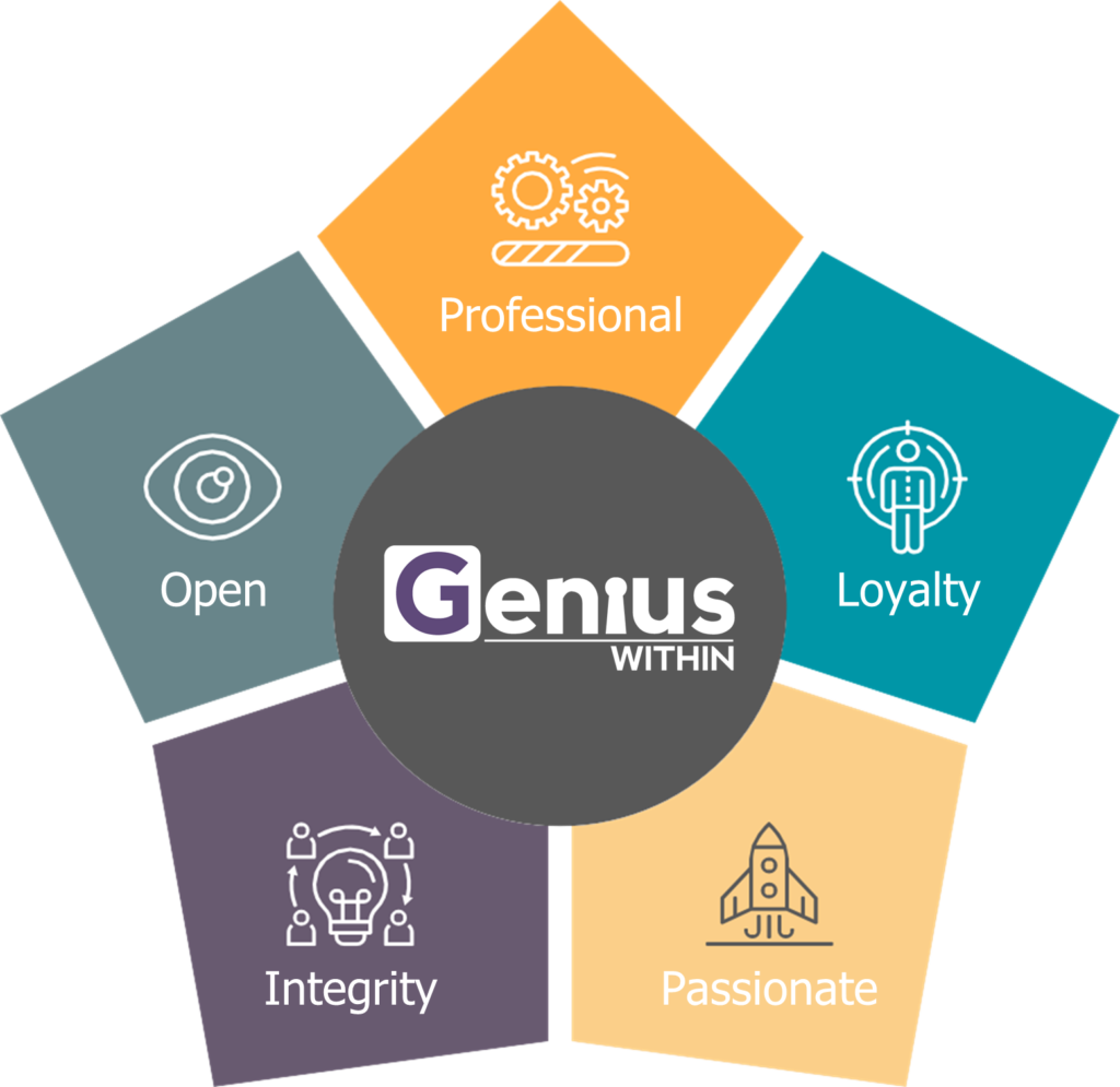 Diagram showing our 5 business values, outlined opposite